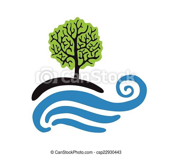 logotipo, vettore, albero, acqua - csp22930443