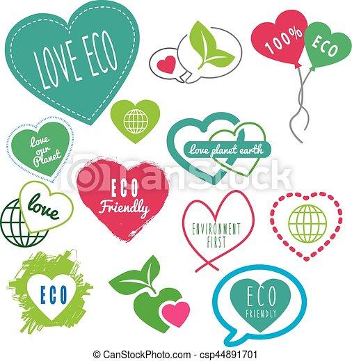 Las series de eco-amistosos aman nuestros logos terrestres - csp44891701