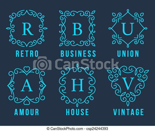 Logotipos de monograma azul claro - csp24244393