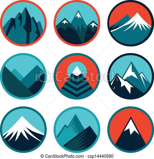 logotipos, jogo, montanhas, abstratos, -, vetorial - csp14440580