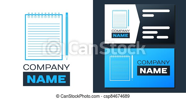 Logotype Blank notebook and pencil with eraser icon isolated on white background. Logo design template element. Vector - csp84674689