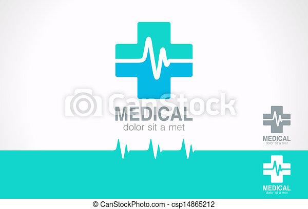 Medizinkreuzlogo. Pharmazie-Logotyp. Kardiogrammkonzept. - csp14865212