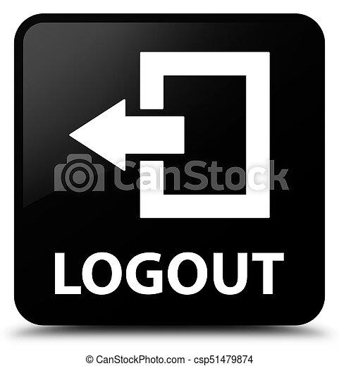 Logout black square button - csp51479874