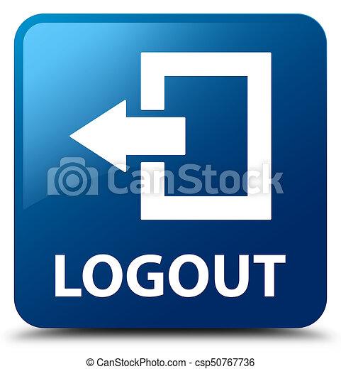 Logout blue square button - csp50767736
