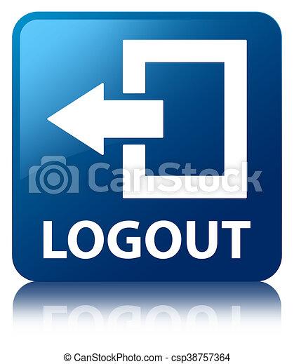 Logout blue square button - csp38757364