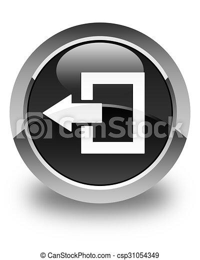 Logout icon glossy black round button - csp31054349