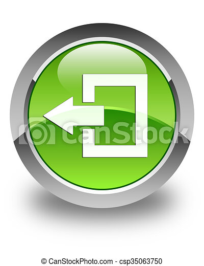 Logout icon glossy green round button - csp35063750