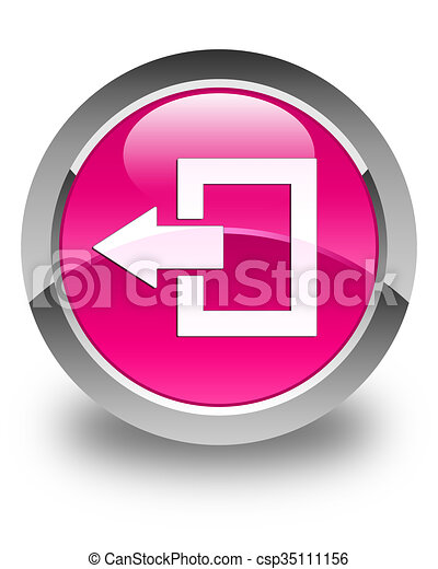 Logout icon glossy pink round button - csp35111156