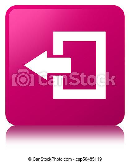 Logout icon pink square button - csp50485119