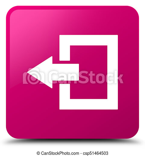 Logout icon pink square button - csp51464503