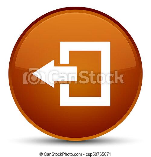 Logout icon special brown round button - csp50765671