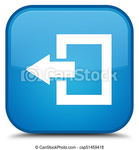 Logout icon special cyan blue square button - csp51459418