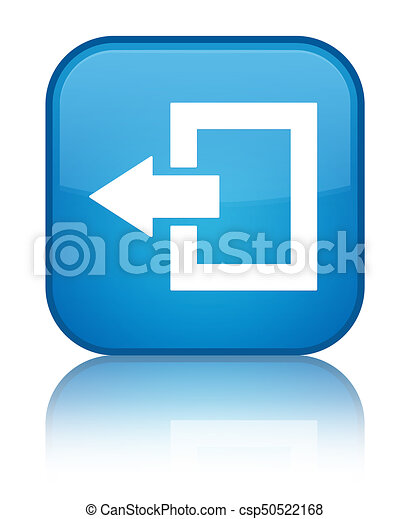 Logout icon special cyan blue square button - csp50522168