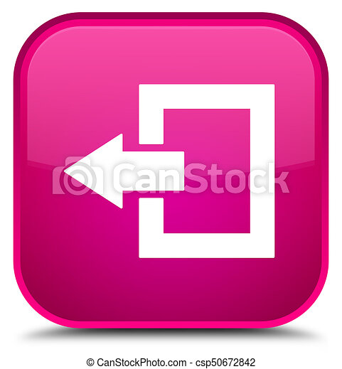 Logout icon special pink square button - csp50672842