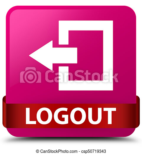 Logout pink square button red ribbon in middle - csp50719343