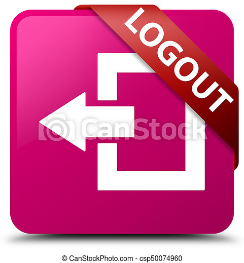 Logout pink square button red ribbon in corner - csp50074960