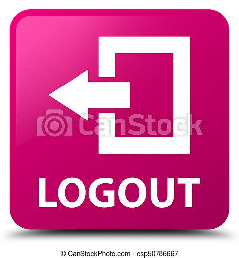Logout pink square button - csp50786667