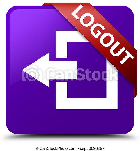 Logout purple square button red ribbon in corner - csp50696297