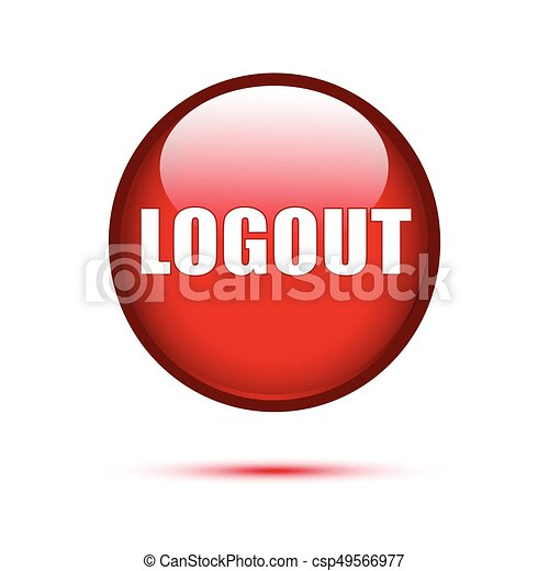 Logout red glossy button on white - csp49566977