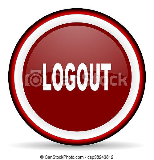 logout round glossy icon, modern design web element - csp38243812