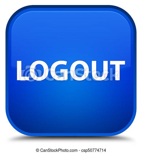 Logout special blue square button - csp50774714