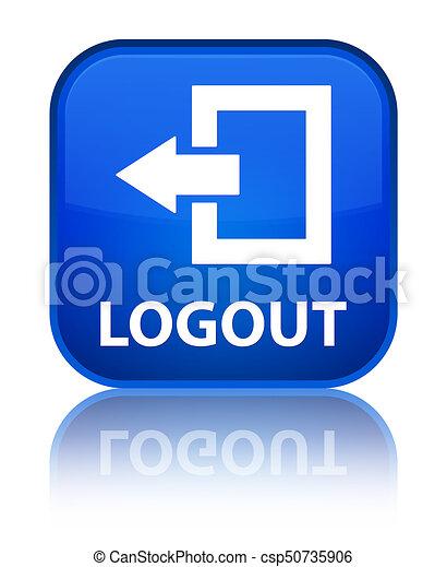 Logout special blue square button - csp50735906