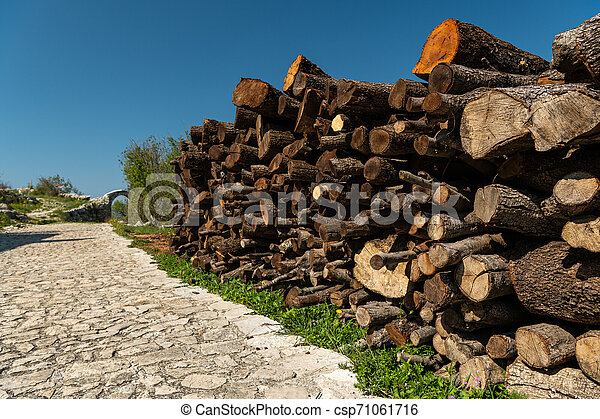 logs lying beside a street on a sunny day - csp71061716