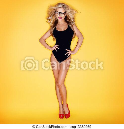 loiro, óculos, swimsuit, mulher, desgastar - csp13380269
