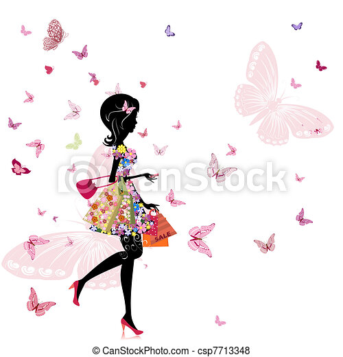 loja, menina, flor - csp7713348