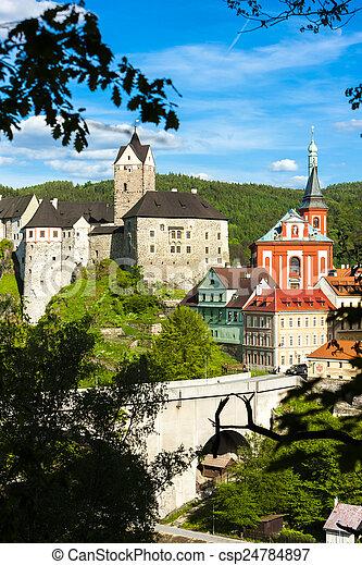 Loket Castle with town, Czech Republic - csp24784897