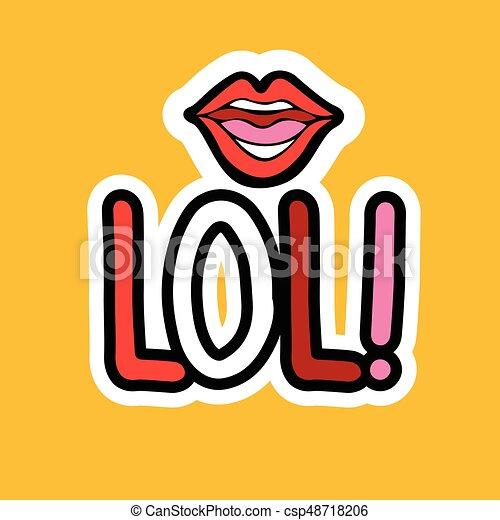 Lol sticker social media network message badges design csp48718206