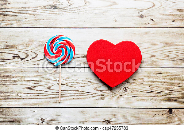 lollipop and heart shaped toy - csp47255783