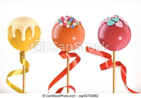 Lollipop candy. Valentine sweet heart. 3d vector icon - csp43753682
