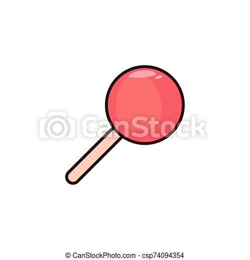 lollipop flat on white background - csp74094354
