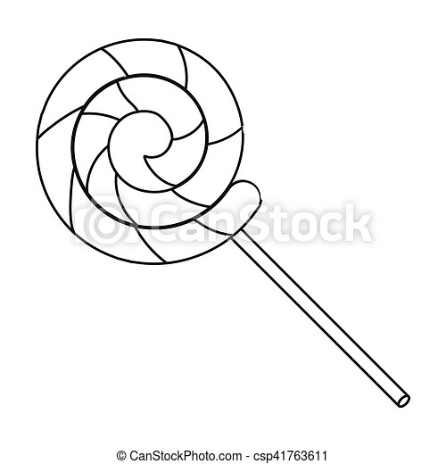 lollipop icon in outline style isolated on white background circus