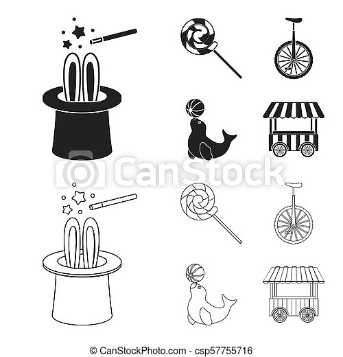Lollipop, trained seal, snack on wheels, monocycle.Circus set collection icons in black,outline style bitmap symbol stock illustration web. - csp57755716
