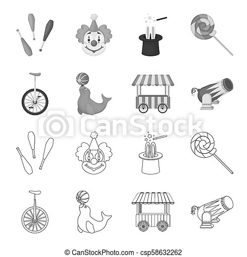 Lollipop, trained seal, snack on wheels, monocycle.Circus set collection icons in outline,monochrome style bitmap symbol stock illustration web. - csp58632262