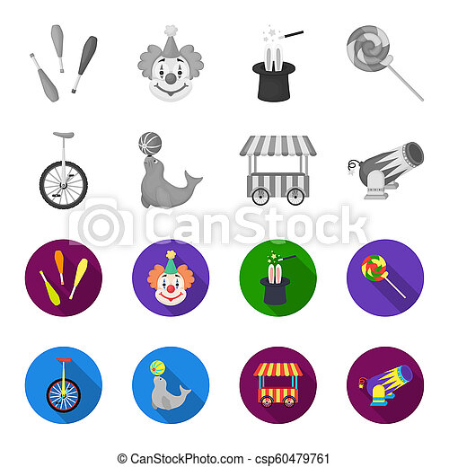 Lollipop, trained seal, snack on wheels, monocycle.Circus set collection icons in monochrome,flat style bitmap symbol stock illustration web. - csp60479761