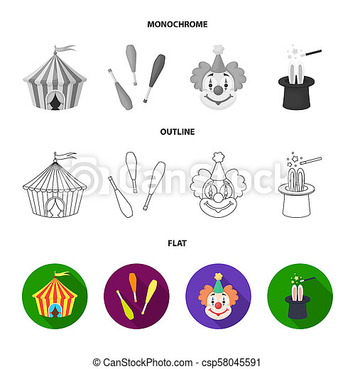 Lollipop, trained seal, snack on wheels, monocycle.Circus set collection icons in flat,outline,monochrome style bitmap symbol stock illustration web. - csp58045591