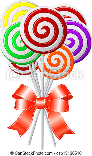 Lollipops with red ribbon - csp13136510