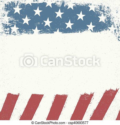 Un lienzo grunge blanco vacío en el fondo de la bandera americana. Diseño patriótico. - csp40693577