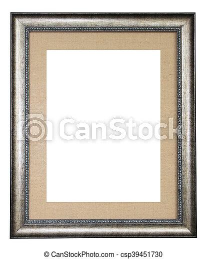 Lona, marco, aislado, plata, plano de fondo, adornado, blanco.