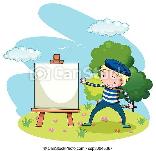 Pintura artística en lienzo en el jardín - csp30045367