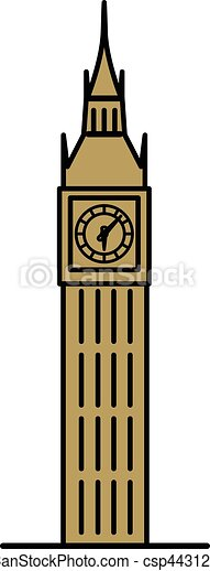 London Big Ben linear illustration - csp44312954
