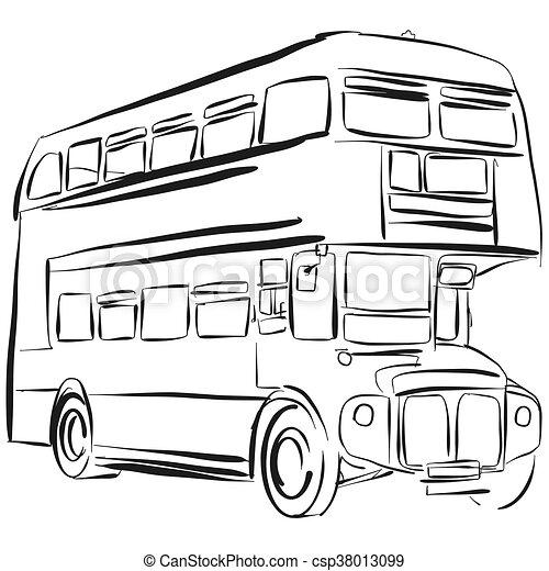 london bus vector drawing outline version rh canstockphoto com  school bus clipart outline