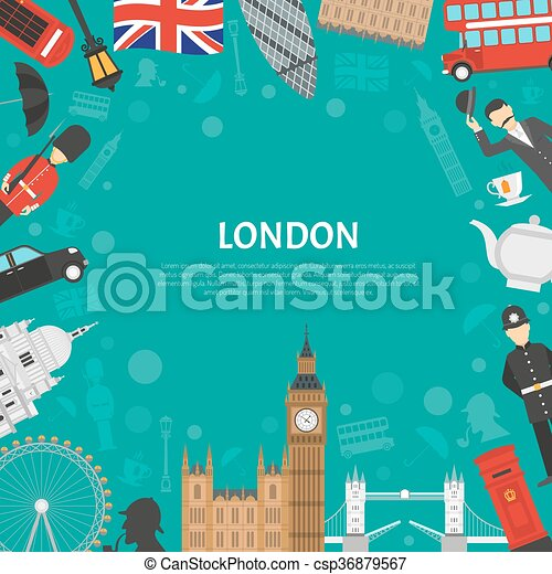 London City Frame Background Flat Poster  - csp36879567