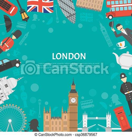 London City Frame Background Flat Poster  - csp36879567