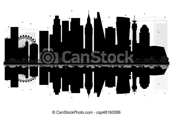 London City Skyline Black And White Silhouette With Reflections