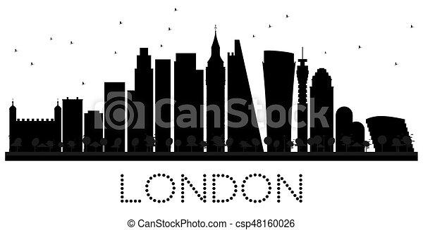 London City Skyline Black And White Silhouette
