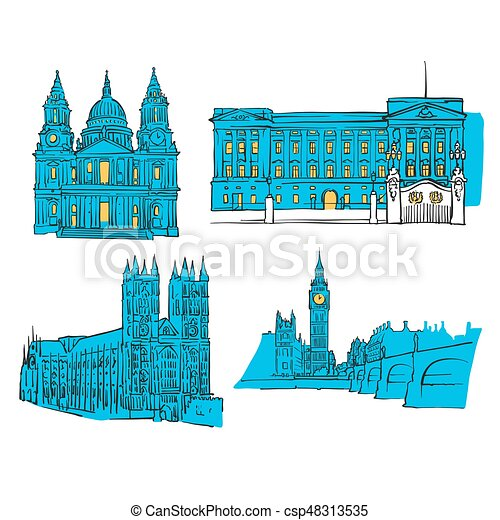 london colored landmarks scalable vector monuments filled with blue shape and yellow highlights